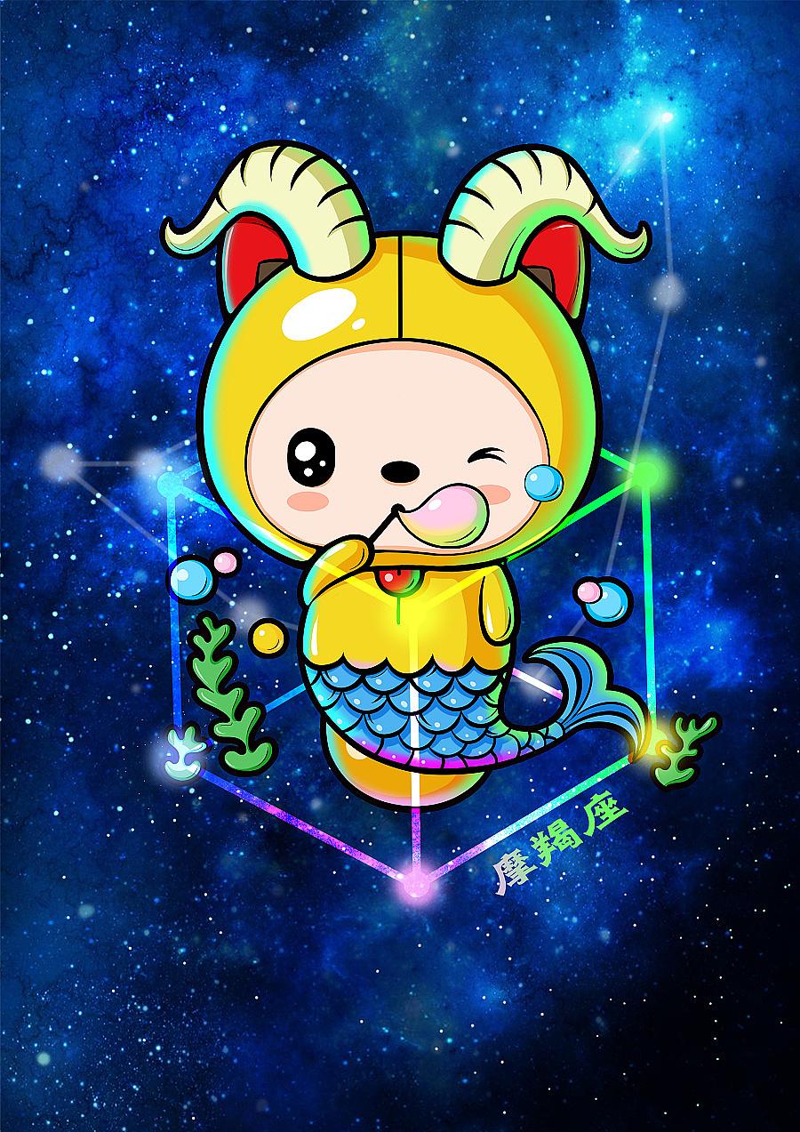 卡通形象吉祥物十二星座插画设计微信表情gif设计---茁茁猫设计