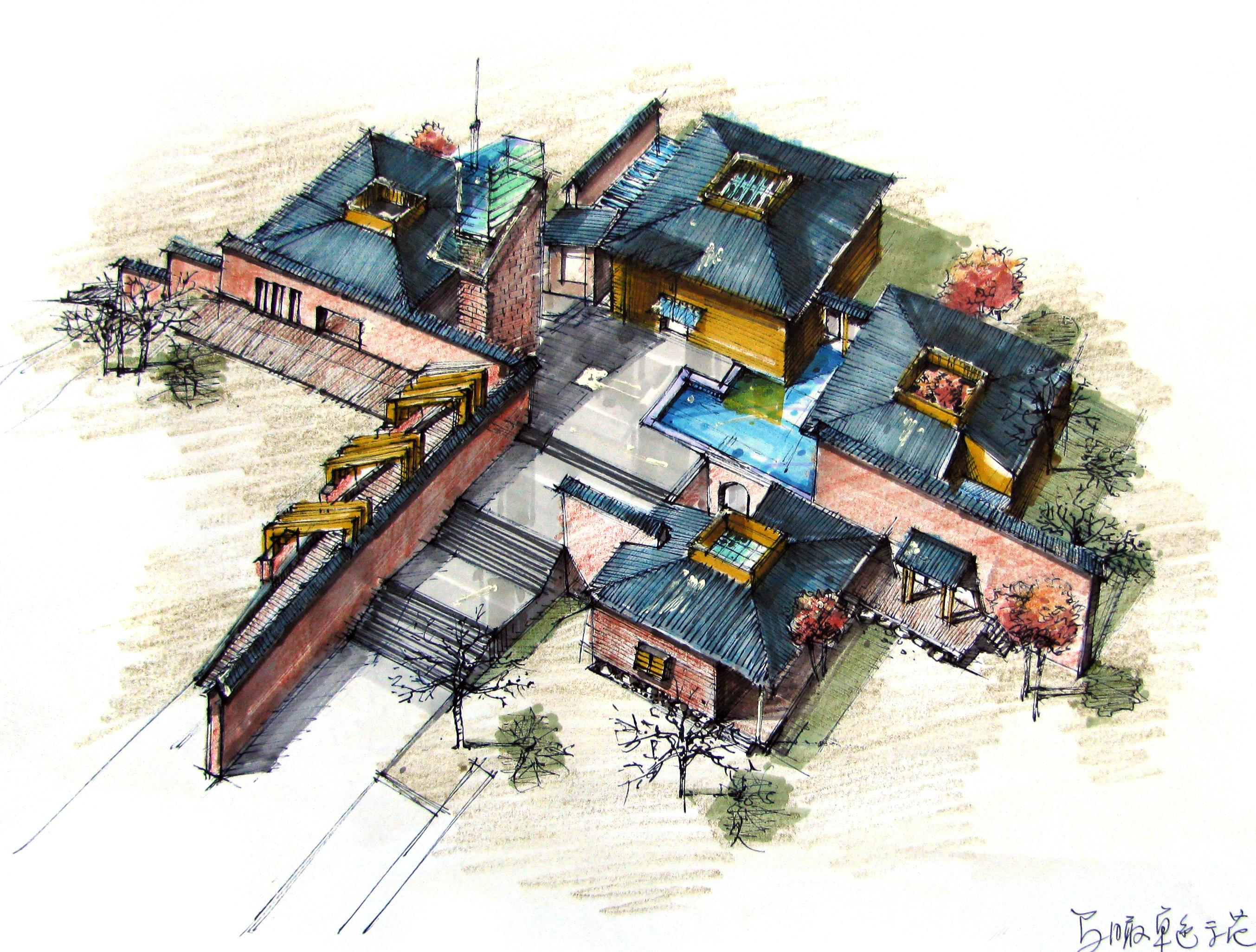 早期建筑手绘表现作品|三维|建筑/空间|whhwsh - 原创