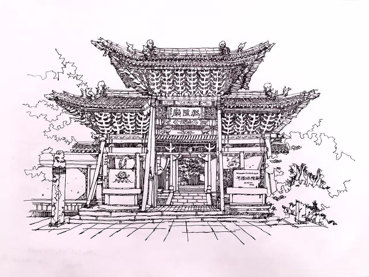 建筑 味道|纯艺术|钢笔画|昊天王 - 原创作品 - 站酷图片