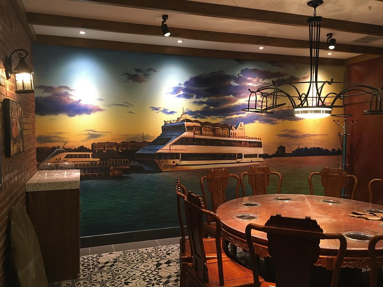 石家庄墙体彩绘--之典墙绘火锅店彩绘案例