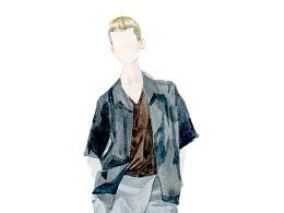 水彩小画-一些土色的衣服