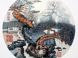 国画-松湖山居图