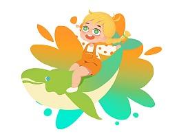 小女孩 儿童插画