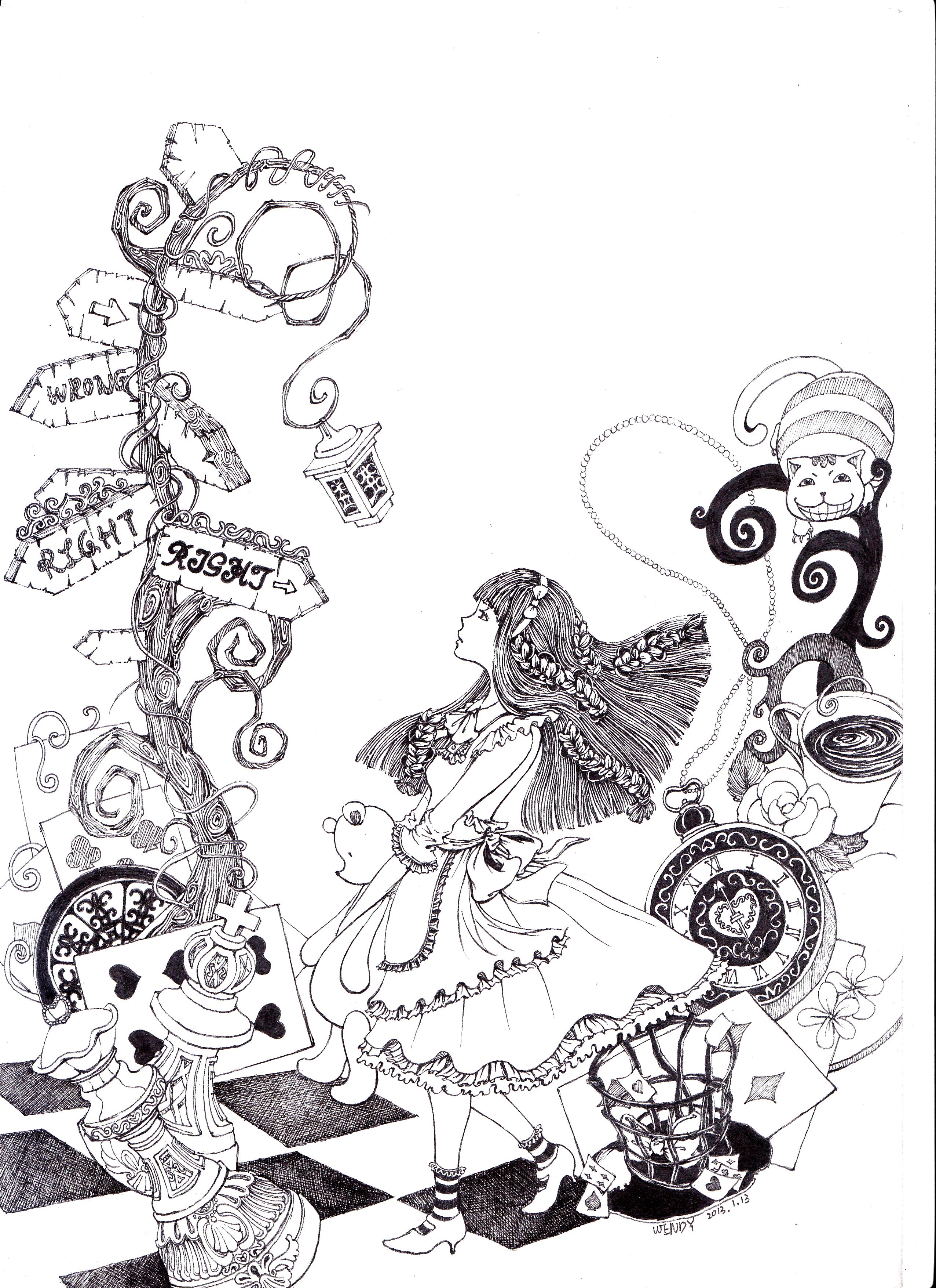 alice 想象随笔|插画|插画习作|wendy_x - 原创作品