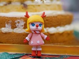 圣诞小雪人molly奶油水果蛋糕