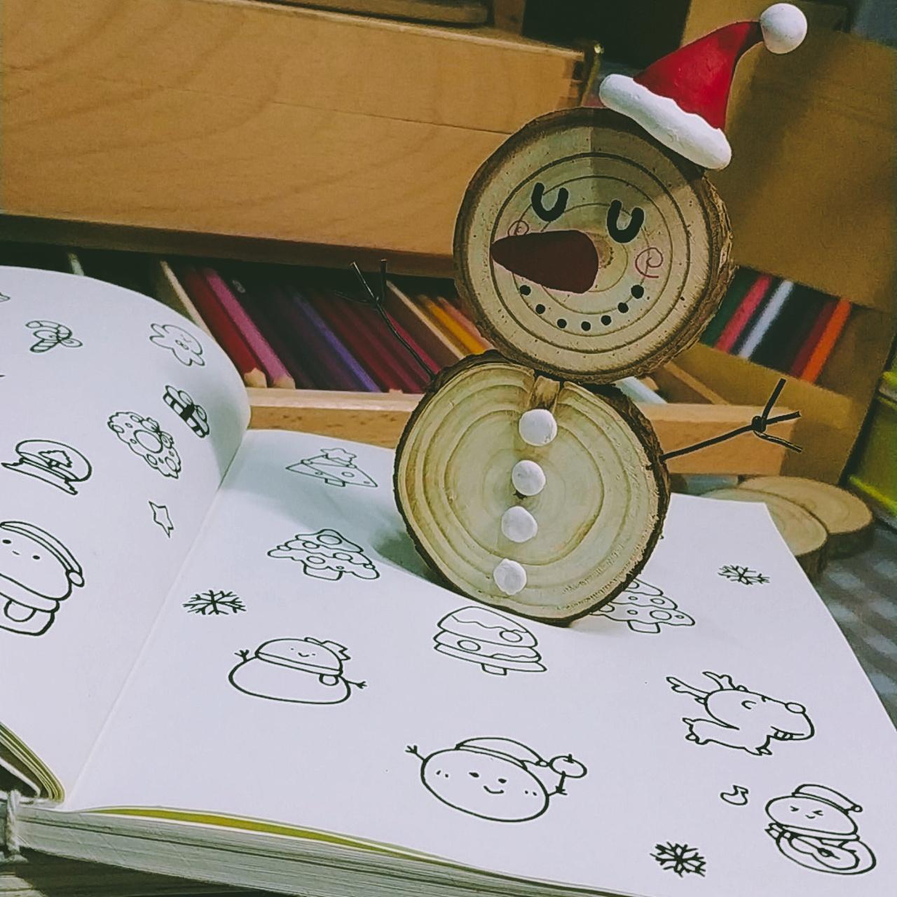 『木片手作』圣诞手工diy木片雪人图片