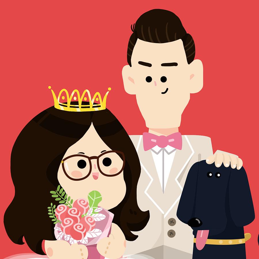 "h對�.9�#jˮ�ǖ""��p�_给一对新人设计的结婚形象 商业插画 插画 hxxooxx"