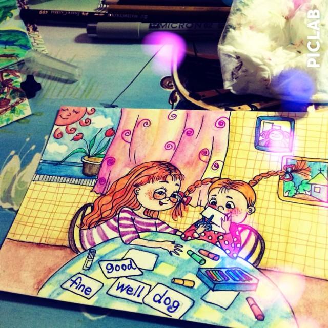 小手工—手绘水彩明信片