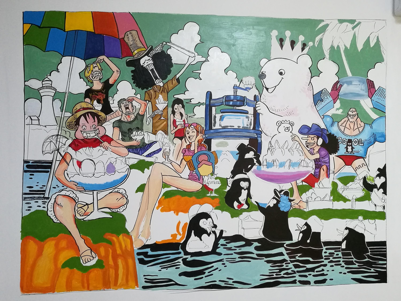 卧室海贼王插画手绘墙