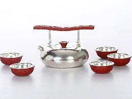 《春华秋实——剔红几何纹银壶》