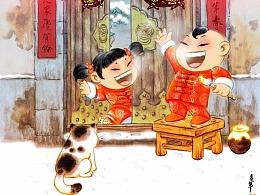 应邀为《中国漫画》杂志绘制2019年新年封面