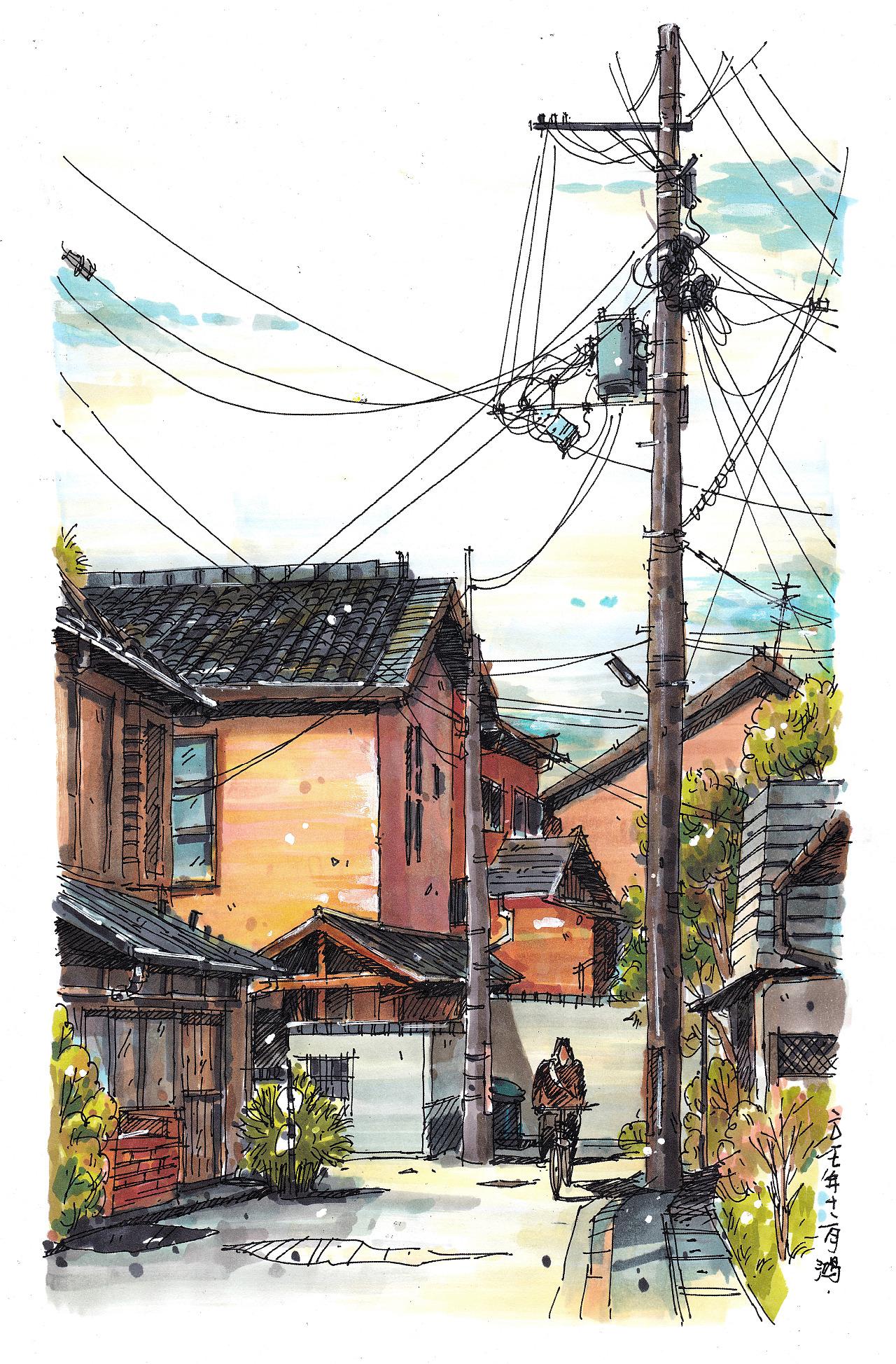 马克笔风景手绘---日本街景