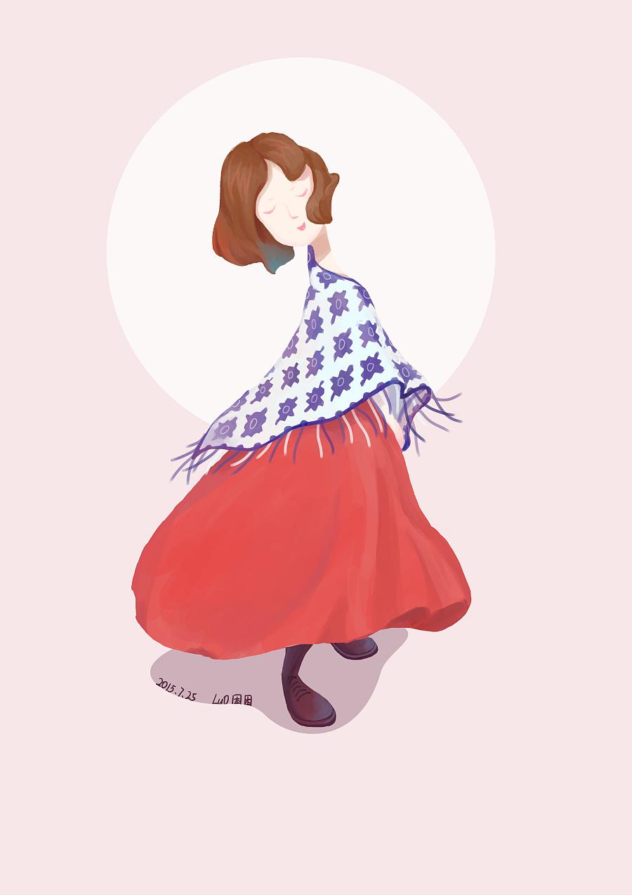 红裙子女孩|商业插画|插画|骆困困