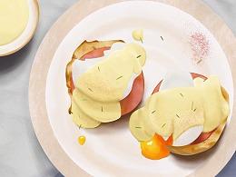 食物插画 —— 本尼迪克蛋
