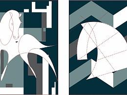 18aw男装成衣作品,马/几何图案,可做多种工艺表达呢
