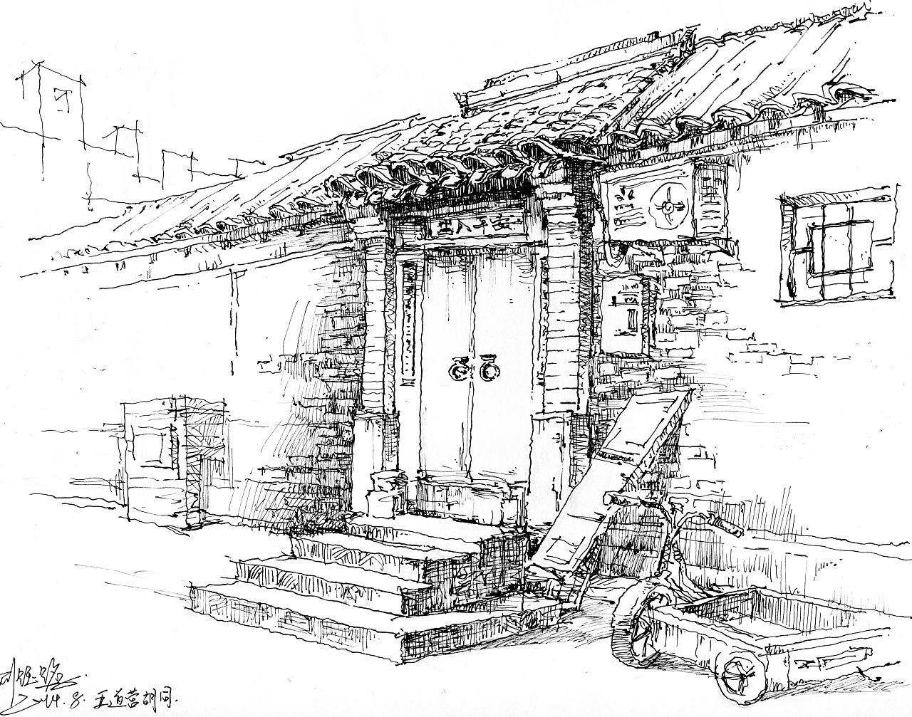 古镇建筑手绘线稿