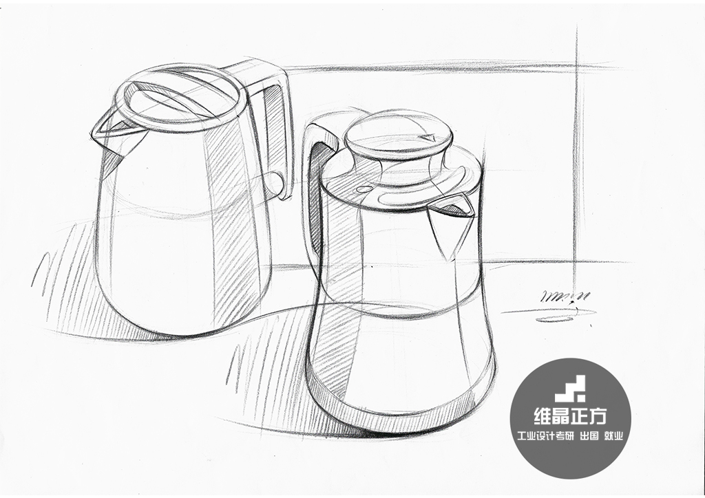 电水壶手绘线稿表达,注意透视关系,线条