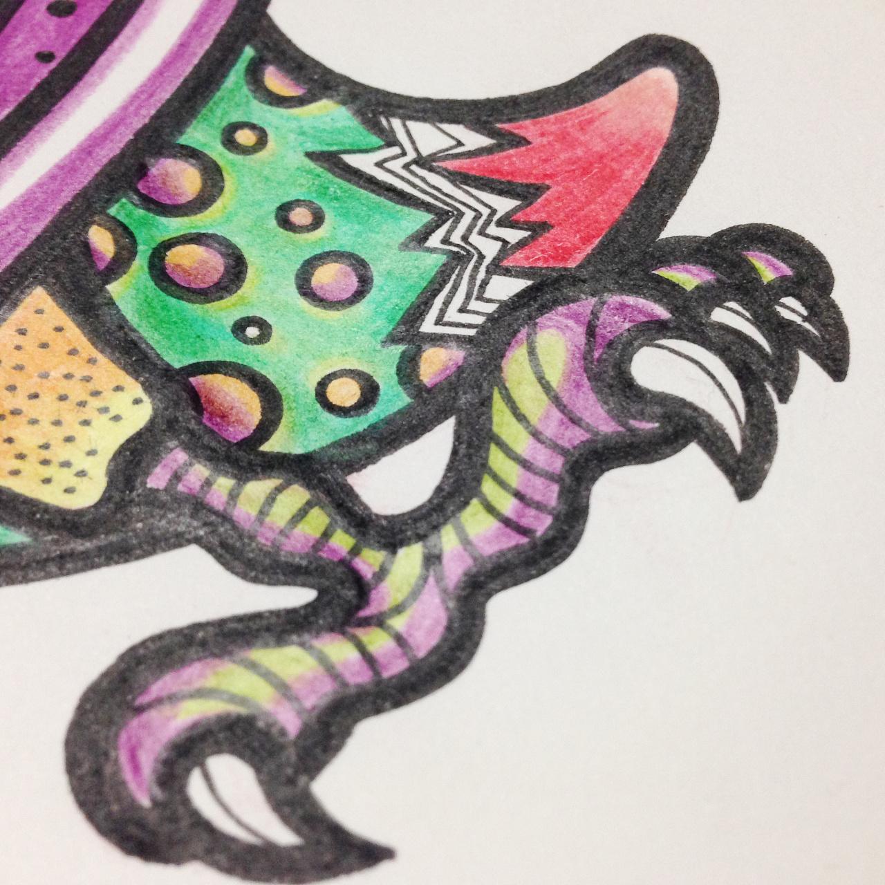 手绘涂鸦插画稿 彩色的大嘴鸟 涂鸦插画