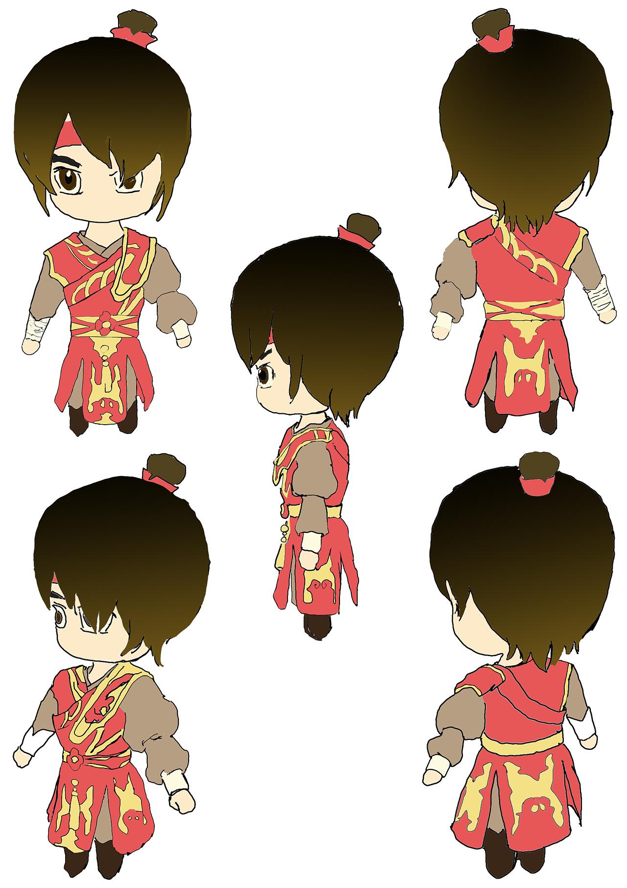 一个动画人物角色的五视图和相应的动画场景图片
