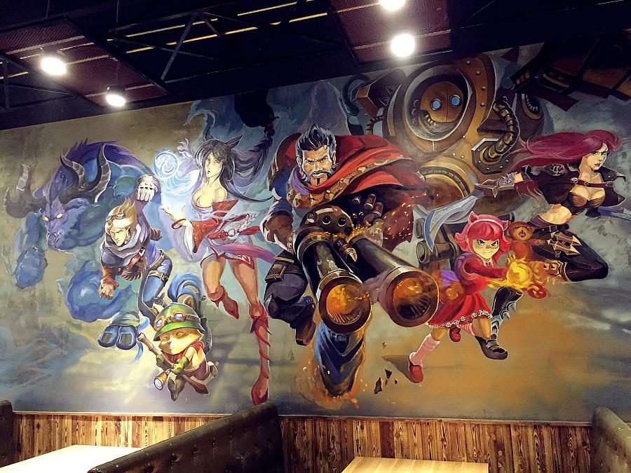 钢铁侠3d立体画+lol英雄联盟手绘墙 墙绘/立体画