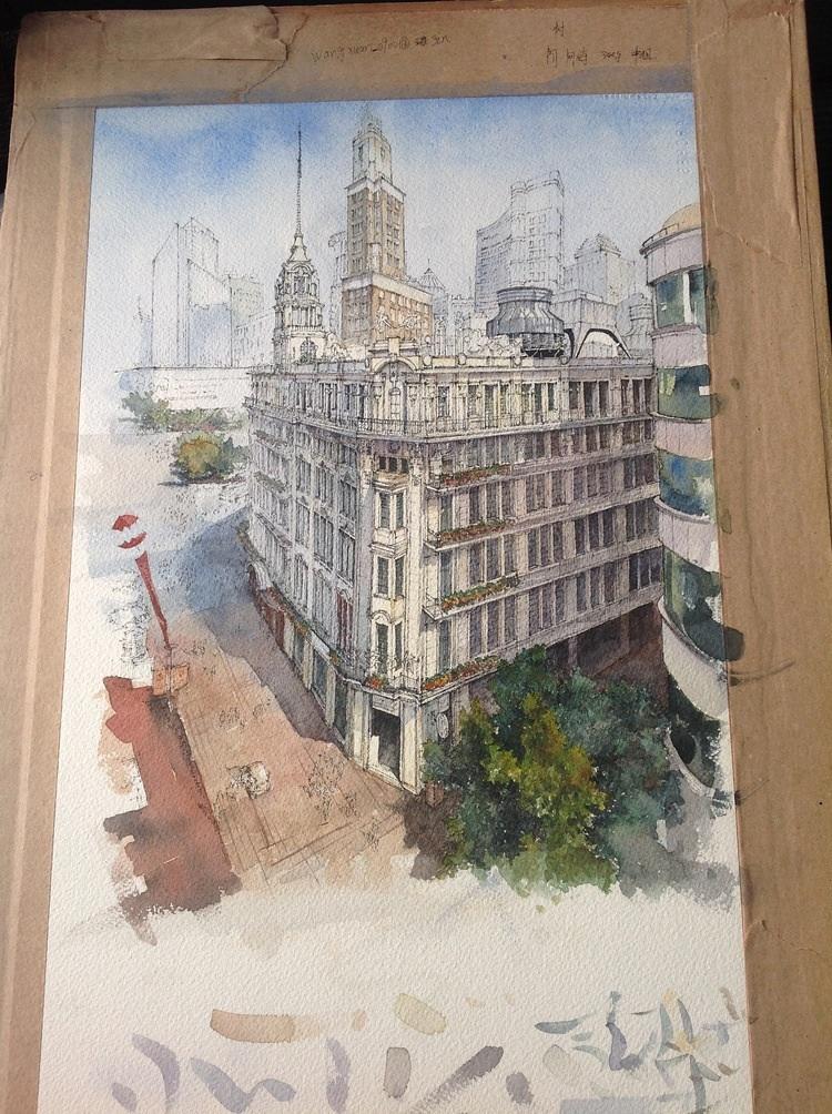建筑手绘—上海街道俯视 (上色过程) 我要评论