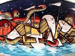 【涂鸦】宁波第一弹~胖章鱼们与海盗船~