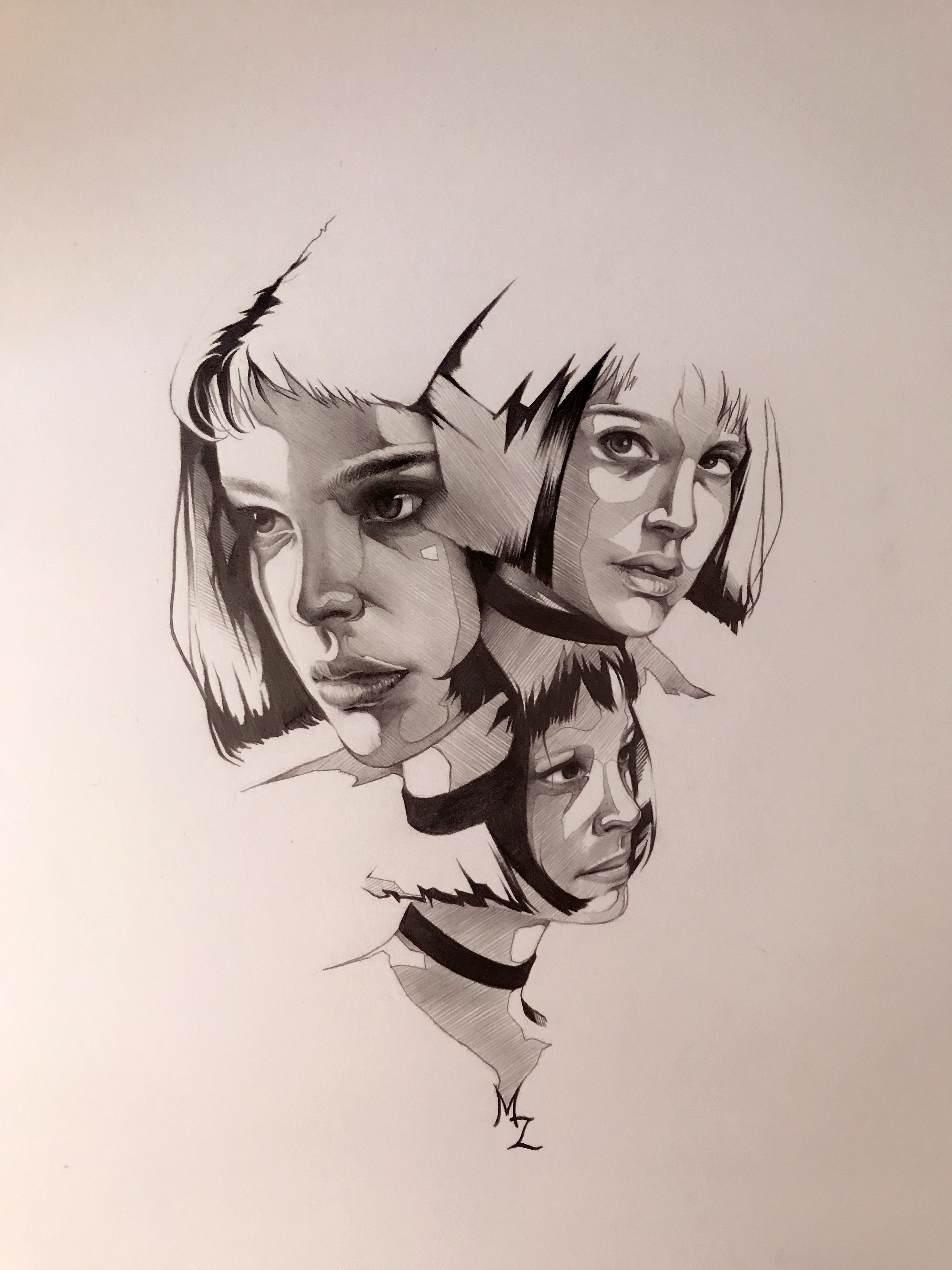 铅笔手绘插画-这个杀手不太冷
