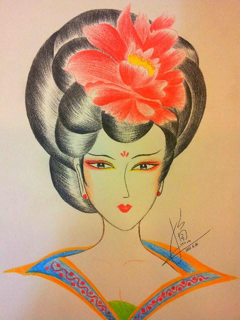我的妆面手稿美人图 彩铅 纯艺术 时尚彩妆小鱼老师