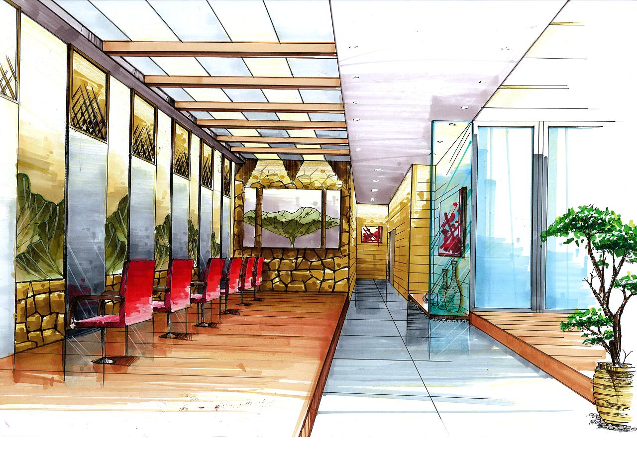 马克笔上色 空间 室内设计 mhc绘 - 原创作品 - 站酷