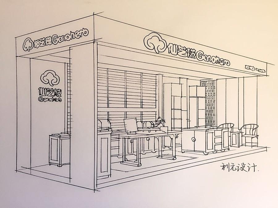利元设计餐饮空间手绘设计|展示/橱窗/店面设计|空
