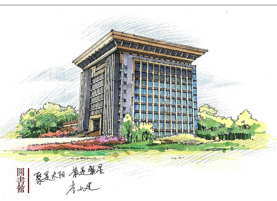 马克笔手绘校园明信片|园林景观/规划|空间/建筑