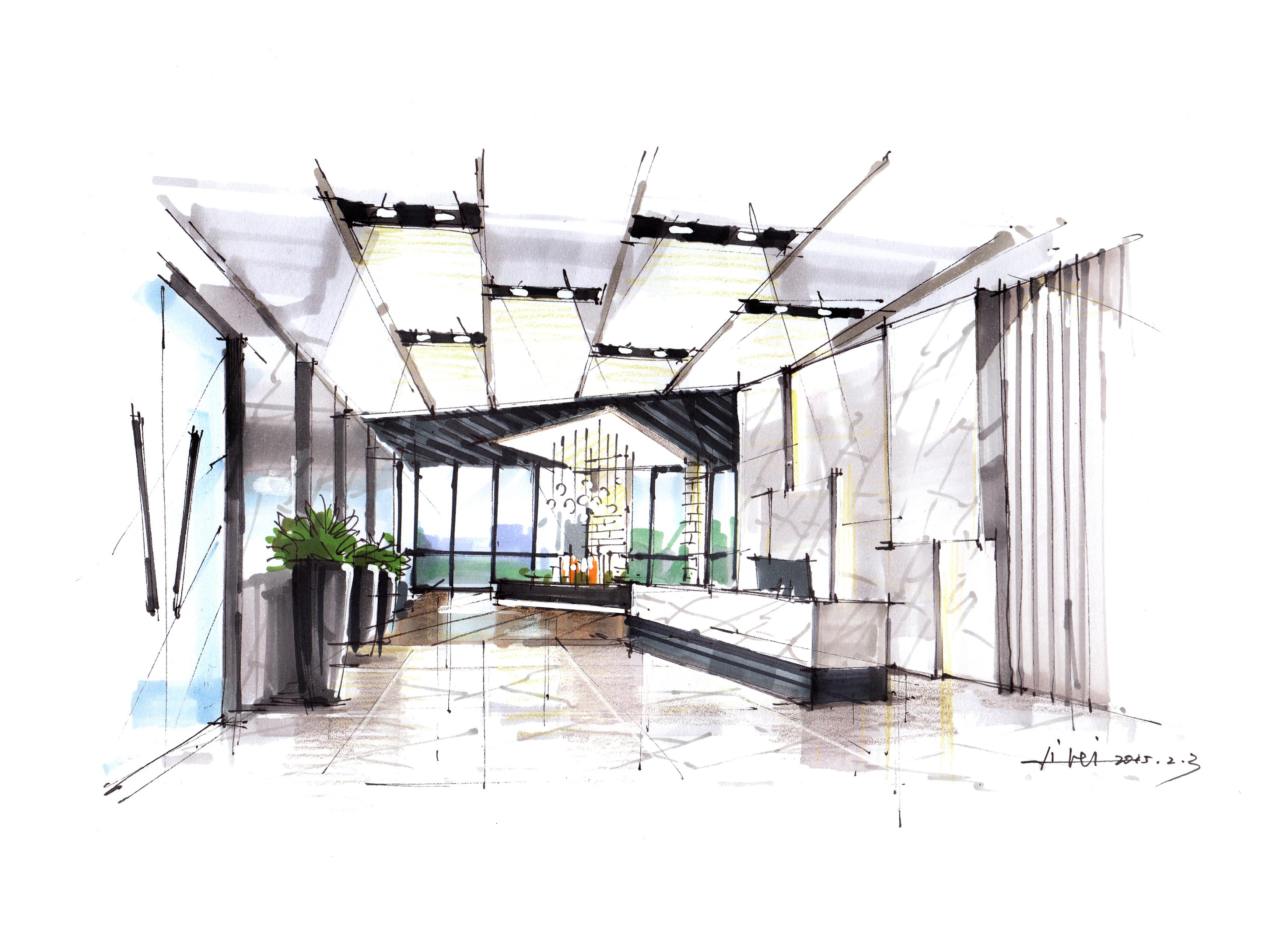 几张空间效果图|空间|室内设计|李磊的手绘艺术