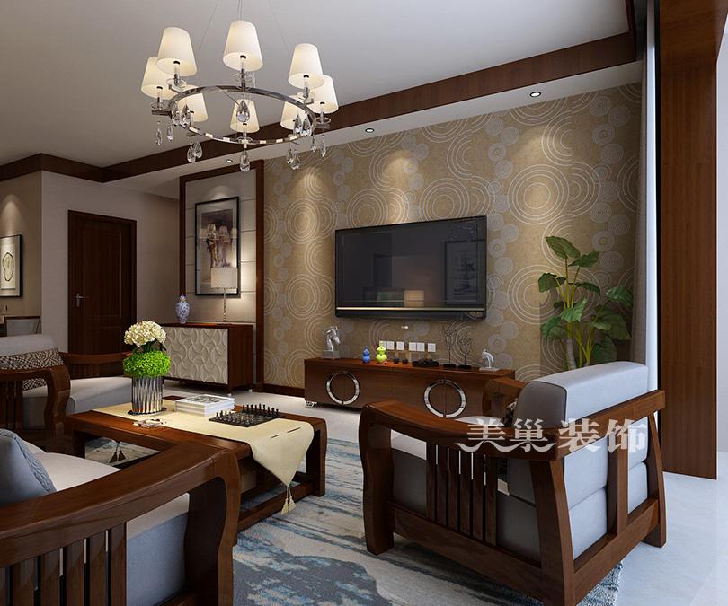 千鹿山120平三室两厅新中式装修效果图图片
