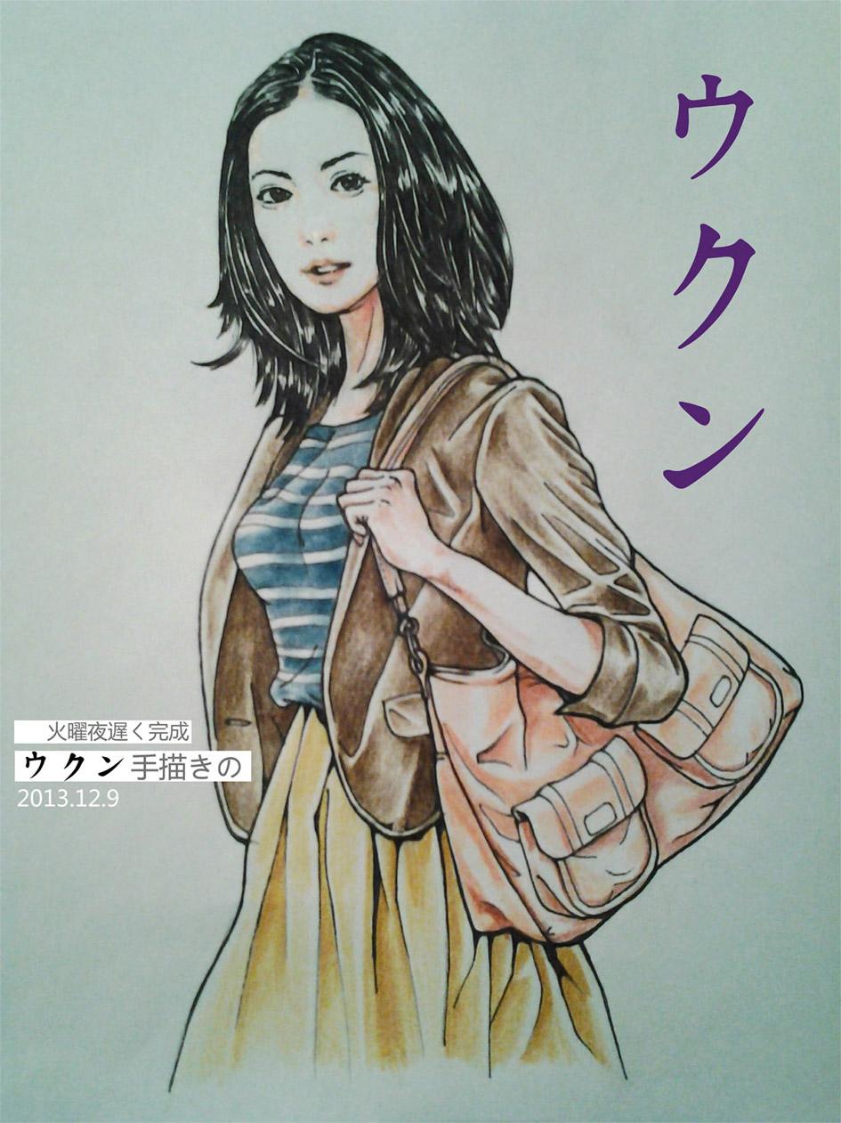 参照女性服饰杂志,运用接近写实手法,刻画人物发型,衣服