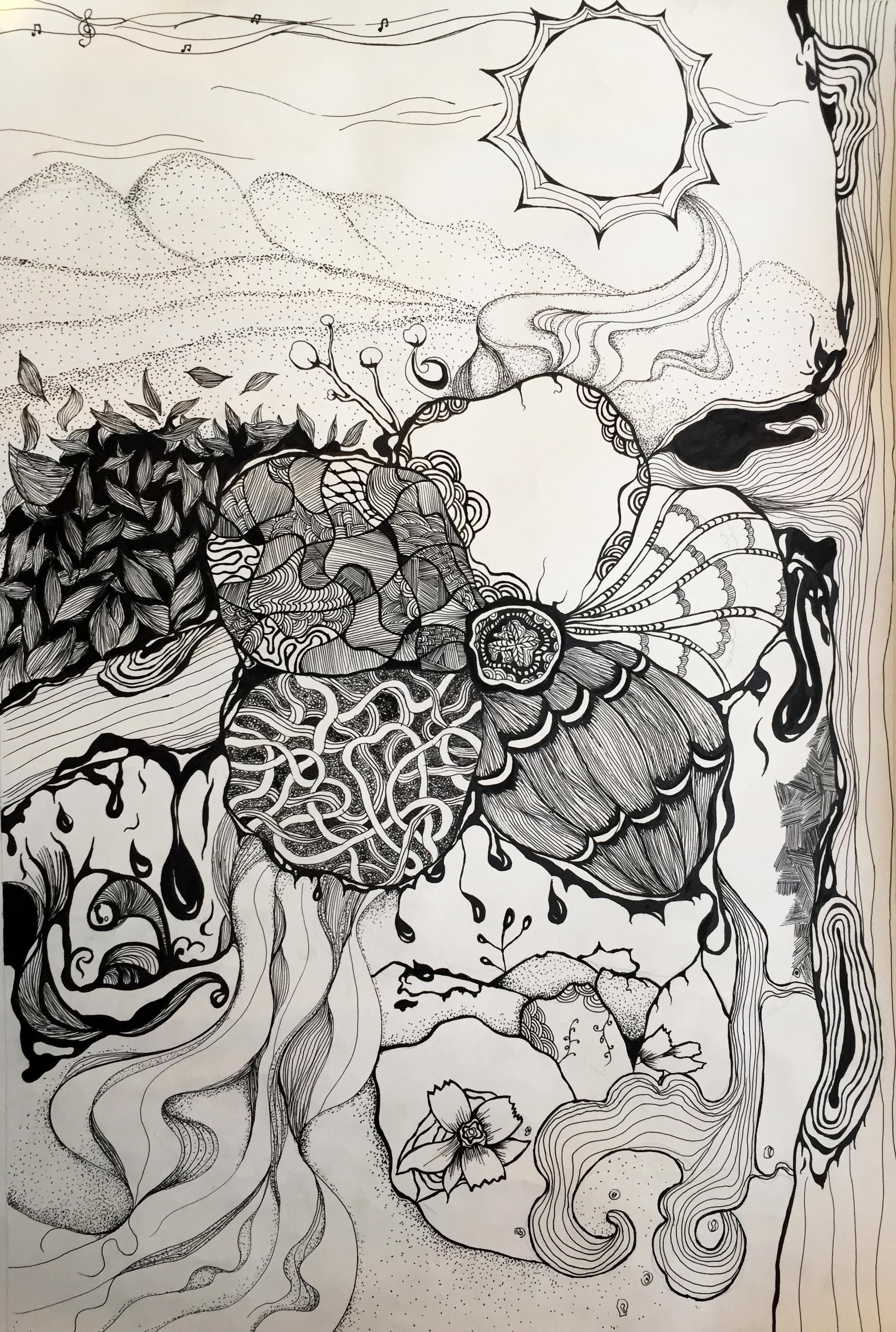 手绘装饰画 平面 图案 我家奇葩 - 原创作品 - 站酷