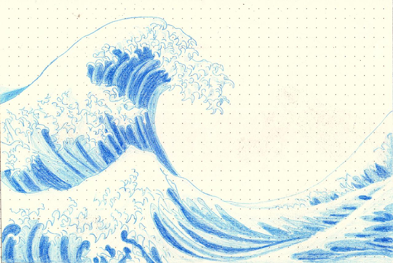海浪手绘图片
