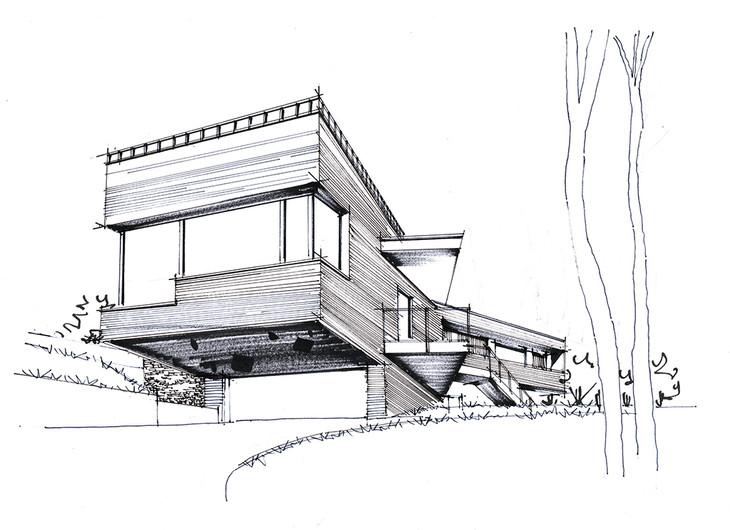匈牙利双子住宅建筑手绘带步骤可临摹青岛手绘一行手绘