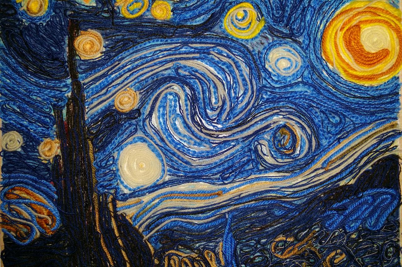 毛线贴画《星夜》|手工艺|其他手工|lanneyliang