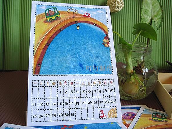 叮叮的手绘明信片 原创故事《想荡秋千的小象》月历