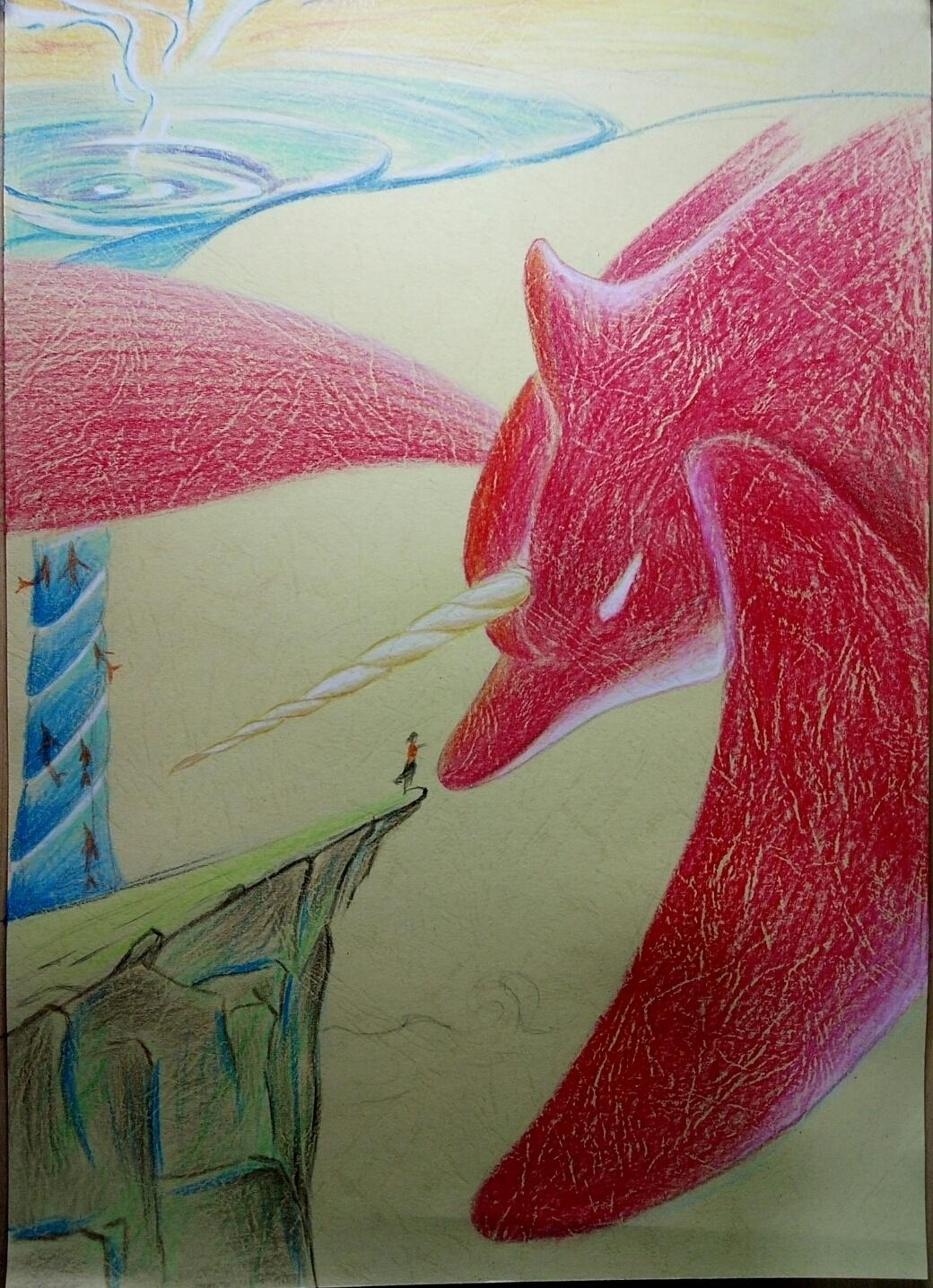 大鱼海棠|纯艺术|彩铅|指尖艺术于洲 - 原创作品图片