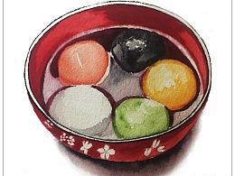 【驴大萌水彩教程20】手绘汤圆 五彩元宵 正月十五