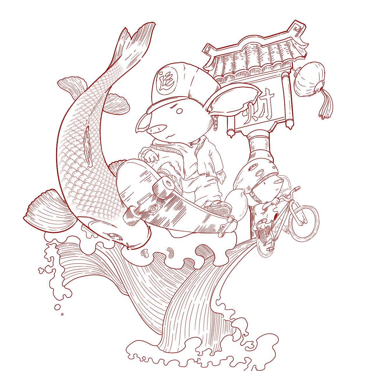 猪年主题插画两枚图片