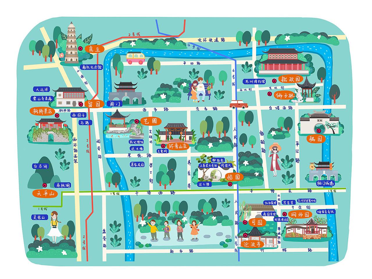 很多手绘地图的项目,现在一点点整理出来,这个前两张是和旅游局合作的