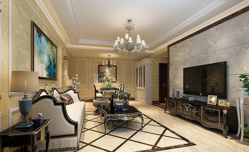 茉莉公馆装修效果图140平简欧风格三室两厅设计案例图片