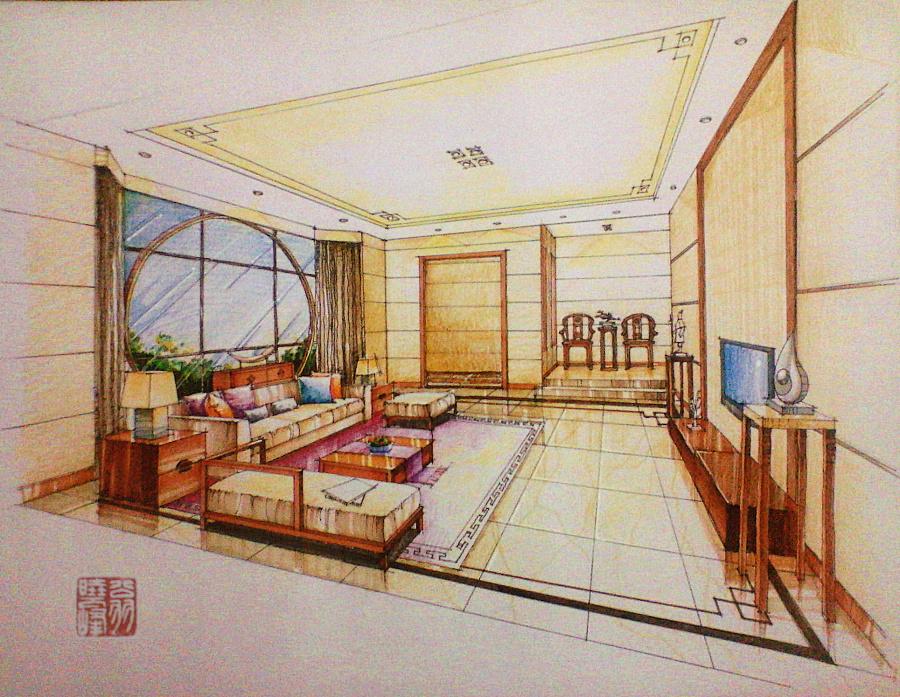 现代中式客厅手绘效果图|室内设计|空间/建筑|翁小峰