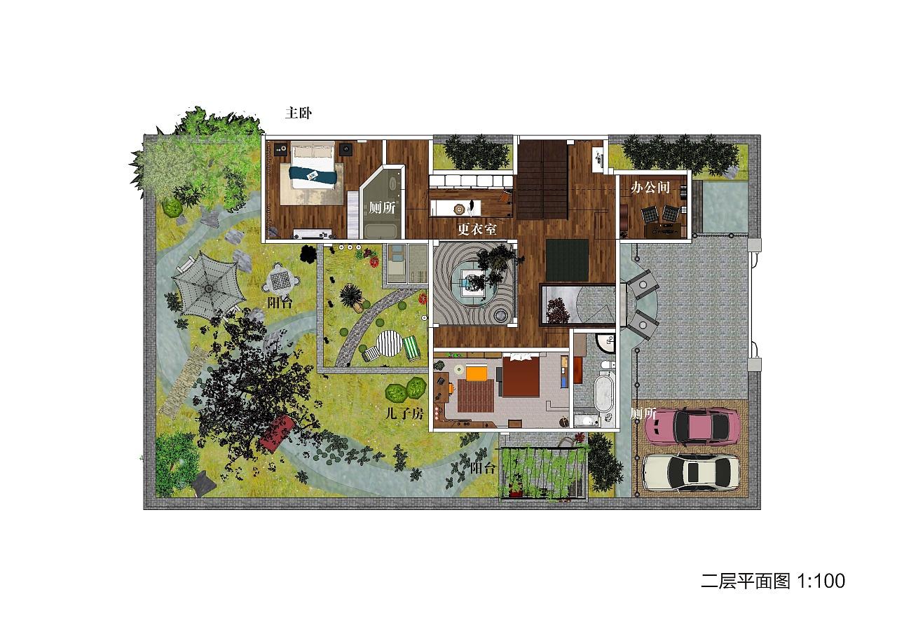 设计图分享二层四合院别墅设计图纸法式风格自建房别墅设计图二层图片