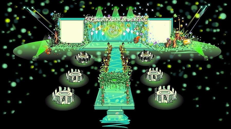 黄小花婚礼手绘效果图之——绿光森林