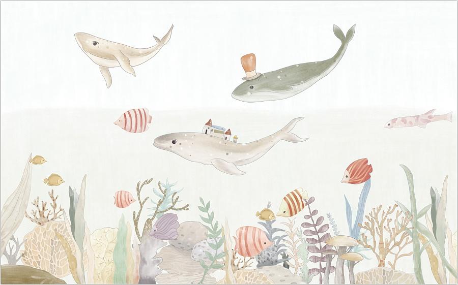 思舍手绘海底世界温馨儿童房壁纸卡通背景墙壁画卧室墙纸定制墙布