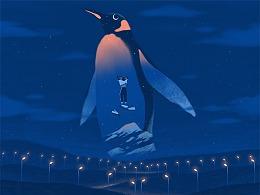 企鹅颈的霞光