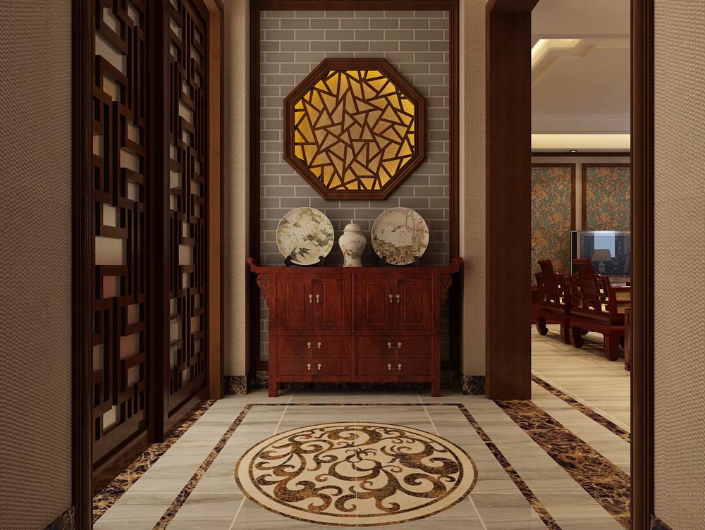 门厅地砖选用了欧式卷草拼花地砖,客餐厅地砖采用地毯式拼花,简洁大方图片